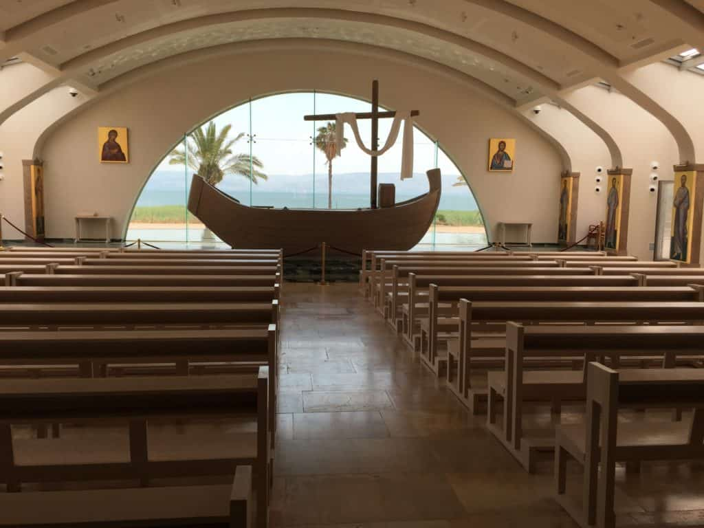 Chapel at Magdala on the shores of the Sea of Galilee. The chapel features images of the 12 disciples of Jesus.